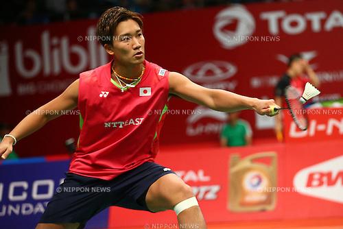 Kento Momota (JPN), AUGUST 12, 2015 - Badminton : TOTAL BWF World Championships 2015 Men's Singles 2nd round match at Istora Senayan Arena, Jakarta, Indonesia. (Photo by Shingo Ito/AFLO SPORT)