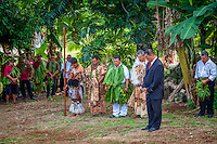 A prayer as part of the investiture of Makirau Haurua with the Teurukura Ariki title, Aitutaki Island, Cook Islands.