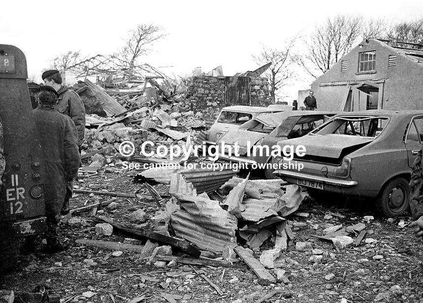 The premises at Desertmartin, Co Londonderry, farmhouse where in a premature explosion Charles Logan, Toronto Street, Belfast, described as a major in the UVF, Ulster Volunteer Force, died on 18th November 1973.  The house was owned by a former Ulster Unionist councillor, who along with his wife, were injured in the blast. In a subsequent UVF statement it was stated the couple were being held prisoner and had nothing to do with the explosion. 197311180710d.<br /> <br /> Copyright Image from Victor Patterson, 54 Dorchester Park, <br /> Belfast, UK, BT9 6RJ<br /> <br /> t1: +44 28 9066 1296 (from Rep of Ireland 048 9066 1296)<br /> t2: +44 28 9002 2446 (from Rep of Ireland 048 9002 2446)<br /> m: +44 7802 353836<br /> <br /> e1: victorpatterson@me.com<br /> e2: victorpatterson@gmail.com<br /> <br /> www.victorpatterson.com<br /> <br /> Please see my Terms and Conditions of Use at www.victorpatterson.com. It is IMPORTANT that you familiarise yourself with them.<br /> <br /> Images used on the Internet must be visibly watermarked i.e. &copy; Victor Patterson within the body of the image and copyright metadata must not be deleted. Images used on the Internet have a size restriction of 4kbs and will be chargeable at current NUJ rates unless agreed otherwise.<br /> <br /> This image is only available for the use of the download recipient i.e. television station, newspaper, magazine, book publisher, etc, and must not be passed on to any third party. It is also downloaded on condition that each and every usage is notified within 7 days to victorpatterson@me.com<br /> <br /> The right of Victor Patterson to be identified as the author is asserted in accordance with The Copyright Designs And Patents Act (1988).