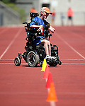 Mark Langston, of Winnemucca, competes in the wheelchair obstacle course during the Special Olympics Nevada 2013 Summer Games in Reno, Nev., on Saturday, June 1, 2013. <br /> Photo by Cathleen Allison