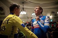 Irish cousins Dan Martin (IRL/Garmin-Sharp) & Nicolas Roche (IRL/Tinkoff-Saxo) hook up while waiting for their teams to hit the stage<br /> <br /> Giro d'Italia 2014<br /> Opening Ceremony