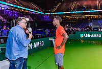 Rotterdam, The Netherlands, 17 Februari 2019, ABNAMRO World Tennis Tournament, Ahoy,   Winner Gael Monfils (FRA) being interviewed by Mark Brasser<br /> <br /> Photo: www.tennisimages.com/Henk Koster