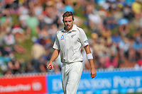Tim Southee prepares to bowl during day one of the 2nd cricket test match between the New Zealand Black Caps and Sri Lanka at the Hawkins Basin Reserve, Wellington, New Zealand on Saturday, 3 February 2015. Photo: Dave Lintott / lintottphoto.co.nz