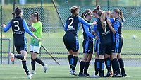 20180915 - Brugge , BELGIUM : Brugge's players pictured celebrating one of their goals and the 2-0 lead during the third game in the first division season 2018-2019 between the women teams of Club Brugge Dames and Eendracht Aalst , Saturday 15 September 2018 . PHOTO DAVID CATRY | SPORTPIX.BE