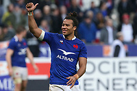 2nd February 2020, Stade de France, Paris; France, 6-Nations International rugby union, France versus England;  Joie - Teddy Thomas (France) thanks the fans