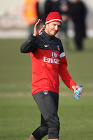 David Beckham trains for the first time with his new Paris Saint-Germain team-mates - France