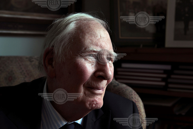 A portrait of former athlete Roger Bannister at his home in Oxford, during the week the London 2012 Olympic Games began. Bannister was the first person to run one mile in under four minutes in 1954.