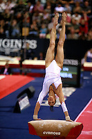 Oct 19, 2006; Aarhus, Denmark;  Isabelle Severino of France performs vault during women's All-Around competition at 2006 World Championships Artistic Gymnastics.