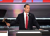 Reince Priebus, RNC Chairman, calls the 2016 Republican National Convention to oder at the Quicken Loans Arena in Cleveland, Ohio on Monday, July 18, 2016.<br /> Credit: Ron Sachs / CNP<br /> (RESTRICTION: NO New York or New Jersey Newspapers or newspapers within a 75 mile radius of New York City)