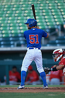 AZL Cubs 1 designated hitter Nelson Maldonado (51) at bat during an Arizona League game against the AZL Angels on June 24, 2019 at Sloan Park in Mesa, Arizona. AZL Cubs 1 defeated the AZL Angels 12-0. (Zachary Lucy / Four Seam Images)