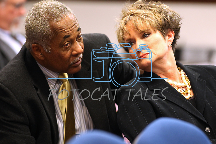Nevada Supreme Court Chief Justice Michael Douglas, and Justice Nancy Saitta talk in committee at the Legislature, in Carson City, Nev., on Wednesday, March 23, 2011.  .Photo by Cathleen Allison