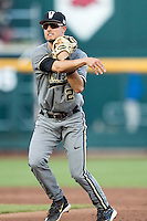 Vanderbilt Commodores second baseman Tyler Campbell (2) makes a throw to first base during the NCAA College baseball World Series against the TCU Horned Frogs on June 16, 2015 at TD Ameritrade Park in Omaha, Nebraska. Vanderbilt defeated TCU 1-0. (Andrew Woolley/Four Seam Images)