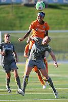 Natasha Kai (6) of Sky Blue FC goes over Sara Larsson (7) of the Philadelphia Independence for a header. The Philadelphia Independence defeated Sky Blue FC 2-1 during a Women's Professional Soccer (WPS) match at John A. Farrell Stadium in West Chester, PA, on June 6, 2010.