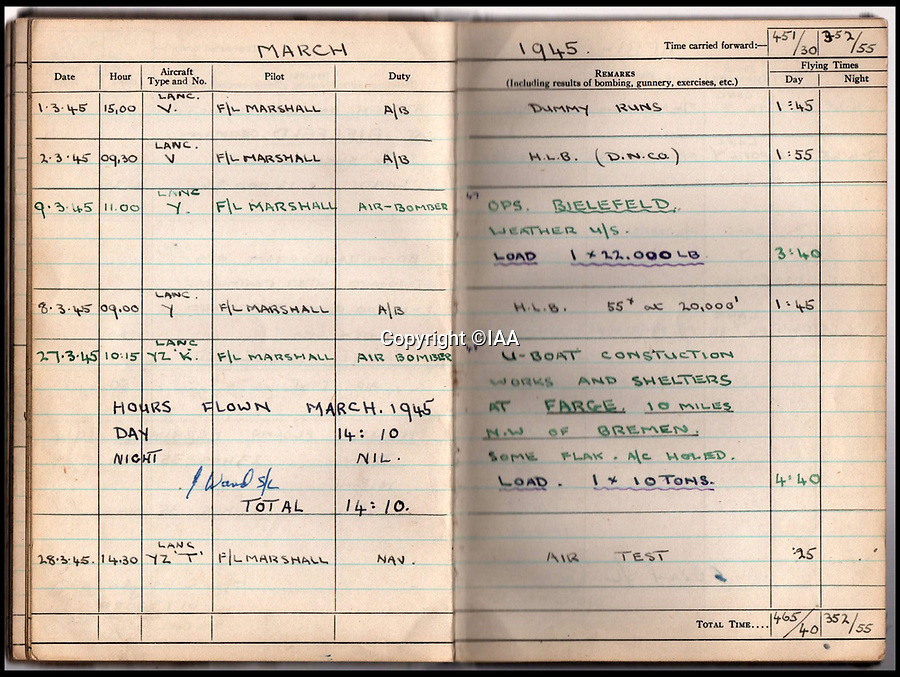 BNPS.co.uk (01202 558833)<br /> Pic: IAA/BNPS<br /> <br /> Sumpters logbook also includes entrys for two famous raids in 1945 -  the Bielefeld viaduct in Germany and, days later, the 'impregnable' Farge U-boat pens near Bremen that he hit and destoyed with a massive 10 ton Grand Slam bomb.<br /> <br /> A fascinating and historic logbook and photographs from a Dambuster's hero who also went on many other famous raids during WW2 has come light. <br /> <br /> The remarkable collection belonged to Flight Sergeant Leonard Sumpter who was a bomb aimer on the iconic Dam's mission, and put together a unique scrapbook of his thrilling wartime career in Bomber Command's most famous squadron.<br /> <br /> As well as the bouncing bomb sortie, the ace bomb aimer also dropped Barnes Wallis's later invention's of massive Tallboy and Grand Slam 'bunker busting' bombs, the largest non nuclear warheads of the war.<br /> <br /> Only the elite 617 squadron were entrusted with delivering these hugely valuable weapons onto their vital targets, that included U-boat pens, V2 rocket sites and even Hitler's Bavarian hideaway the Eagles Nest.<br /> <br /> Also included are pictures Mr Sumpter took in 1947 during a summer excusion to visit some of the sites he had attacked during the conflict.<br /> <br /> Flt Sgt Sumpter's daughter has decided to put the photo album up for auction together with his logbook and his personal scrapbook.
