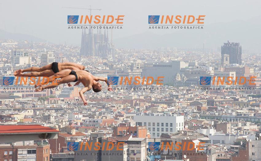 The landscape of Barcelona with la Sagrada Famlia<br /> Men's 10m synchro platform preliminaries<br /> 15th FINA World Aquatics Championships<br /> Barcelona 19 July - 4 August 2013<br /> Piscina Municipal de Montjuic, Barcelona (Spain) 21/07/2013 <br /> &copy; Giorgio Perottino / Deepbluemedia.eu / Insidefoto