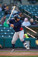 Toledo Mudhens catcher Manny Pina (9) at bat during a game against the Rochester Red Wings on May 12, 2015 at Frontier Field in Rochester, New York.  Toledo defeated Rochester 8-0.  (Mike Janes/Four Seam Images)