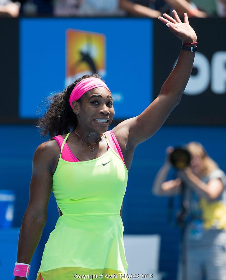 SERENA WILLIAMS (USA)<br /> <br />  - Australian Open 2015 - Grand Slam -  Melbourne Park - Melbourne - Victoria - Australia  - 28 January 2015. <br /> &copy; AMN IMAGES