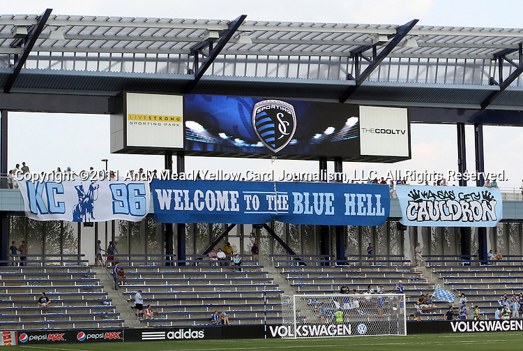 09 June 2011: A view of the banners overhanging the Member's Stand before the game. Sporting Kansas City played the Chicago Fire to a 0-0 tie in the inaugural game at LIVESTRONG Sporting Park in Kansas City, Kansas in a 2011 regular season Major League Soccer game.