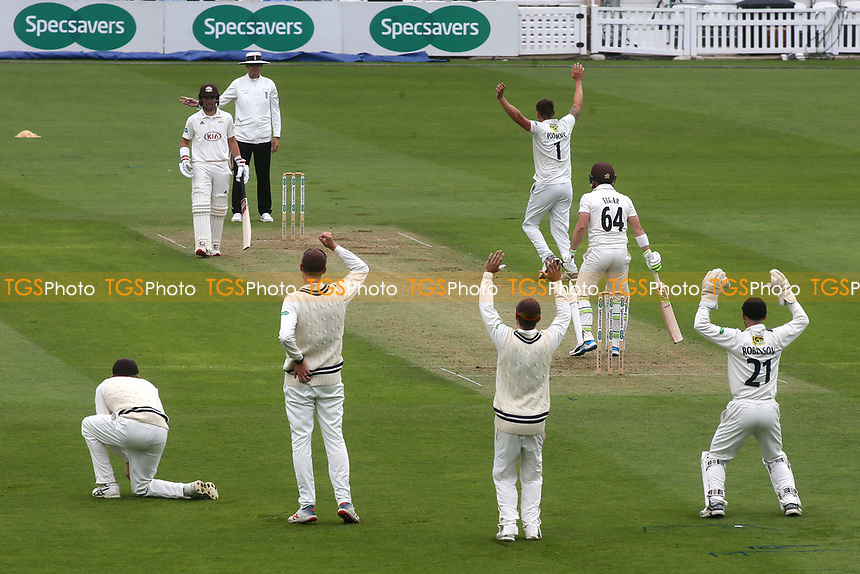 Kent bowler Harry Podmore appeals for an lbw, but the umpire has already signalled a no ball during Surrey CCC vs Kent CCC, Specsavers County Championship Division 1 Cricket at the Kia Oval on 7th July 2019