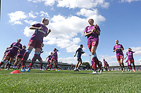 West Ham players warm up during Arsenal Women vs West Ham United Women, Barclays FA Women's Super League Football at Meadow Park on 8th September 2019