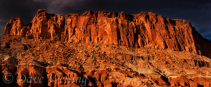 908000006 panoramic dark storm clouds above the fluted wall sandstone formations in capitol reef national park utah united states