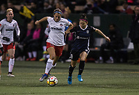 Seattle, WA - Saturday March 24, 2018: Ashley Hatch, Nahomi Kawasumi during a regular season National Women's Soccer League (NWSL) match between the Seattle Reign FC and the Washington Spirit at the UW Medicine Pitch at Memorial Stadium.