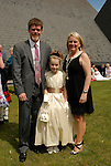 Abigail Redin after she ade her First Holy Communion in Julianstown on Saturday with her parents Greg and Adele.