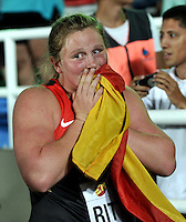 CALI - COLOMBIA - 16-07-2015:Julia Ritter, de Alemania, Medalla de oro en la prueba de Lanzamiento de la Bala, en el estadio Pascual Guerrero sede, sede del IX campeonato Mundial de Atetismo Juvenil 2015.  / Julia Ritter, of Germany gold medal in the test of theShot Put Girls, in the Pascual Guerrero home of the IX World Youyh Campionshps -2015. Photos: VizzorImage / Luis Ramirez / Staff.