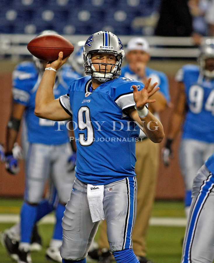 Detroit Lions quarterback Matthew Stafford (9) throws a pass during warmups, before a preseason NFL football game with the Buffalo Bills, Thursday, Sept. 2, 2010, in Detroit. (AP Photo/Tony Ding)