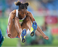 Team GB Lorraine Ugen jumps for the long jump final in the Rio2016 Olympics. <br /> Rio de Janeiro, Brazil on August 17, 2016.<br /> CAP/CAM<br /> &copy;Andre Camara/Capital Pictures /MediaPunch ***NORTH AMERICAS ONLY***