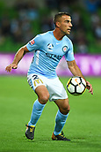 3rd November 2017, Melbourne Rectangular Stadium, Melbourne, Australia; A-League football, Melbourne City FC versus Sydney FC; Manny Muscat of Melbourne City FC attempts to take control of the ball