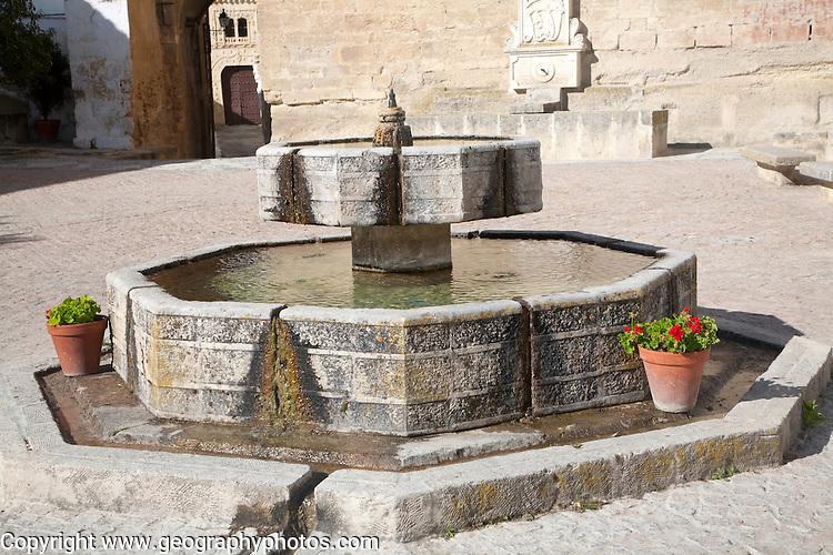 Water fountain Church of La Incarnation, Iglesia Mayor de Santa Maria de la Encarnacion, Alhama de Granada, Spain