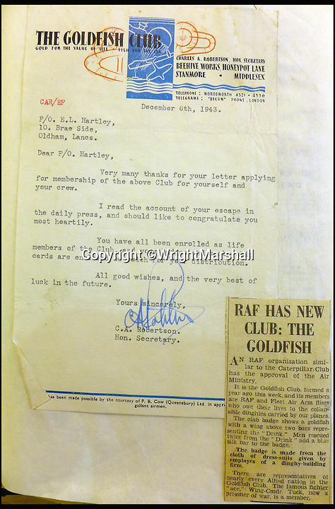 BNPS.co.uk (01202 558833)<br /> Pic: WrightMarshall/BNPS<br /> <br /> Eric Hartley's membership to the Goldfish Club.<br /> <br /> An incredible diary revealing how six hero airmen survived 11 days at sea in a dinghy by using their underpants for a fishing net and their shirts for a sail has been found after 73 years.<br /> <br /> Flying Officer Eric Hartley kept the log of the daily struggle for survival the crew of a Halifax bomber endured after it was shot down by a German U-boat whose captain was nicknamed Count Dracula.<br /> <br /> Six of the eight crew survived and climbed into the small open rubber dinghy and were left at the mercy of the sea for nearly two weeks until they were spotted by a Royal Navy destroyer off Ireland in October 1943.