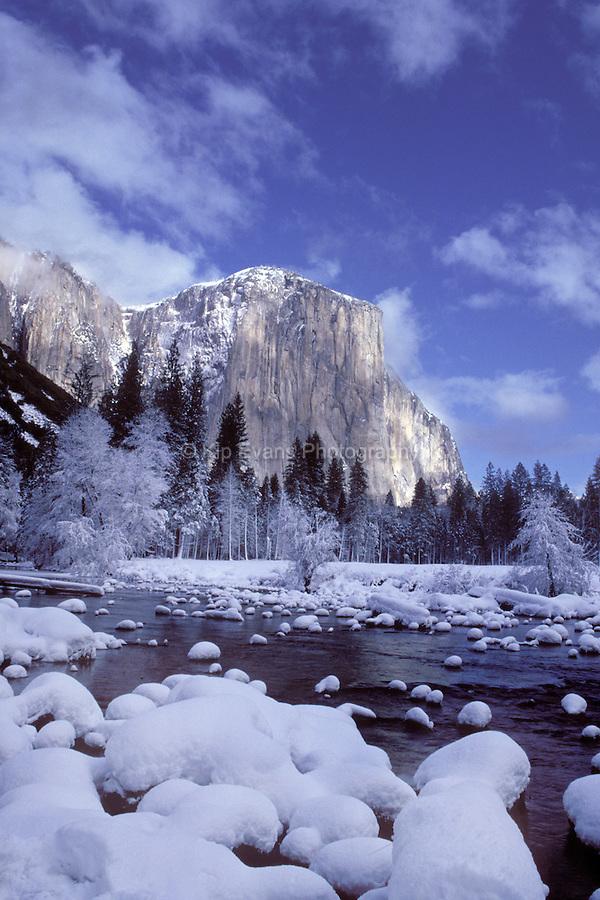 El Capitan along the Merced River in winter, Yosemite National Park, CA.