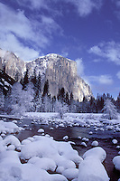 El Capitan along the Merced River in winter, Yosemite National Park, CA.