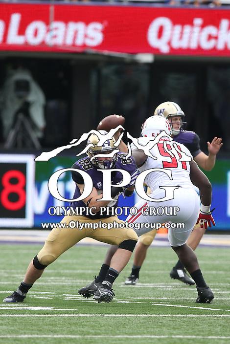 03 September 2016: Washington's Drew Before against Rutgers.  Washington defeated Rutgers 48-13 at the University of Washington in Seattle, WA.