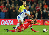 (L-R) Gabriel Torres of Panama is tackled by Ethan Ampadu of Wales during the international friendly soccer match between Wales and Panama at Cardiff City Stadium, Cardiff, Wales, UK. Tuesday 14 November 2017.