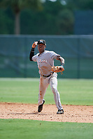 GCL Marlins shortstop Demetrius Sims (19) throws to first base during the first game of a doubleheader against the GCL Nationals on July 23, 2017 at Roger Dean Stadium Complex in Jupiter, Florida.  GCL Nationals defeated the GCL Marlins 4-0.  (Mike Janes/Four Seam Images)