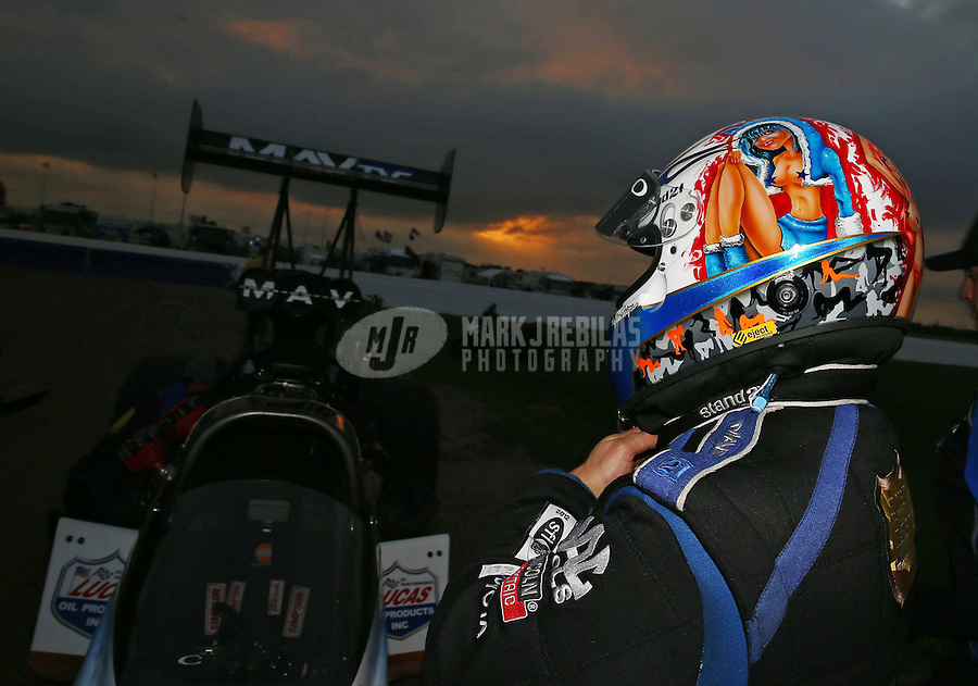 Apr. 26, 2013; Baytown, TX, USA: Detailed view of the helmet of NHRA top fuel dragster driver Brandon Bernstein during qualifying for the Spring Nationals at Royal Purple Raceway. Mandatory Credit: Mark J. Rebilas-