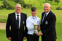 Jimmy Duggan (Hon Sec Connacht Golf) with John Dempsey (Captain Gort Golf Club) presents the Connacht U16 Boys Cup to Sam Murphy (Portumna) winner of the Connacht U16 Boys Open 2018 at the Gort Golf Club, Gort, Galway, Ireland on Wednesday 8th August 2018.<br /> Picture: Thos Caffrey / Golffile<br /> <br /> All photo usage must carry mandatory copyright credit (&copy; Golffile | Thos Caffrey)