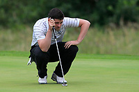 TJ Ford (Co.Sligo) on the 18th green during the Final of the AIG Barton Shield in the AIG Cups & Shields Connacht Finals 2019 in Westport Golf Club, Westport, Co. Mayo on Saturday 10th August 2019.<br /> <br /> Picture:  Thos Caffrey / www.golffile.ie<br /> <br /> All photos usage must carry mandatory copyright credit (© Golffile | Thos Caffrey)