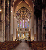 Nave and choir, showing the high vaulted ceiling in the choir, completed 1250s, and its radiating recesses, Chartres Cathedral, Eure-et-Loir, France. Chartres cathedral was built 1194-1250 and is a fine example of Gothic architecture. It was declared a UNESCO World Heritage Site in 1979. Picture by Manuel Cohen
