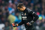 Goalkeeper Sergio Asenjo Andres of Villarreal CF celebrates his side's goal during the La Liga 2017-18 match between Real Madrid and Villarreal CF at Santiago Bernabeu Stadium on January 13 2018 in Madrid, Spain. Photo by Diego Gonzalez / Power Sport Images