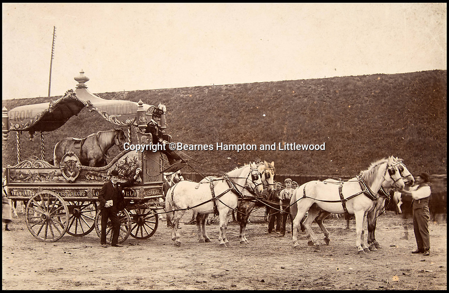 BNPS.co.uk (01202 558833)<br /> Pic: BearnesHampton&Littlewood/BNPS<br /> <br /> The circus wagon's were beautifully decorated to cause excitment when they arrived in town.<br /> <br /> A fascinating archive of photographs and documents relating to Britain's 'Greatest Showman' has emerged for sale.<br /> <br /> Lord George Sanger established one of the very first circus shows in Victorian times and was the British equivalent of P.T Barnum, the subject of the hit musical movie The Greatest Showman.<br /> <br /> Now an archive that includes black and white photos of crowds of people gathered outside a huge circus tent in Margate as well one of five elephants lined up outside the same venue is available for sale at auction in Devon.