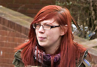 St Patricks Day parade High Street Digbeth.red haired girl watches parade CampHill Bordesley