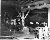 Interior of Durango roundhouse.  D&amp;RGW #473 K-28 with boiler lagging.<br /> D&amp;RGW  Durango, CO  Taken by Payne, Andy M. - 4/8/1968
