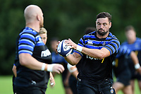 Elliott Stooke of Bath Rugby receives the ball. Bath Rugby pre-season training on August 14, 2018 at Farleigh House in Bath, England. Photo by: Patrick Khachfe / Onside Images