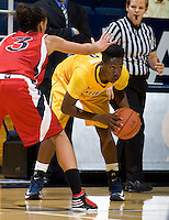 Afure Jemerigbe of California in action during the game against St. Mary's at Haas Pavilion in Berkeley, California on November 15th, 2012.  California defeated St. Mary's, 89-41.