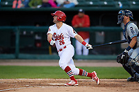 Peoria Chiefs third baseman Danny Hudzina (26) follows through on a swing during a game against the West Michigan Whitecaps on May 8, 2017 at Dozer Park in Peoria, Illinois.  West Michigan defeated Peoria 7-2.  (Mike Janes/Four Seam Images)