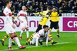 09.03.2019, Signal Iduna Park, Dortmund, GER, 1.FBL, Borussia Dortmund vs VfB Stuttgart, DFL REGULATIONS PROHIBIT ANY USE OF PHOTOGRAPHS AS IMAGE SEQUENCES AND/OR QUASI-VIDEO<br /> <br /> im Bild   picture shows:<br /> Paco Alcacer (Borussia Dortmund #9) trifft zum 2:1 und jubelt mit Christian Pulisic (Borussia Dortmund #22) und Jadon Sancho (Borussia Dortmund #7), <br /> <br /> Foto &copy; nordphoto / Rauch